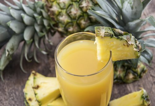 Fresh made Pineapple Juice with fresh pieces of pineapples