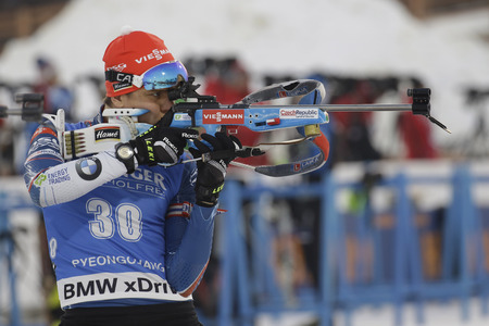 79044833 - vaclavik adam of czech action during an ibu biathlon world cup men 10km sprint at alpensia biathlon center in pyeong chang, south korea.